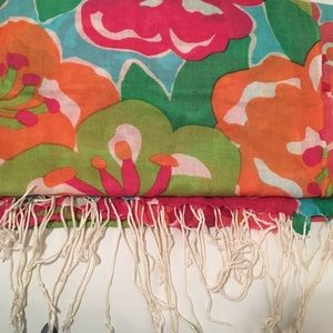 Lilly Pulitzer Printed Scarf with fringe detail